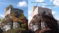 Częściowe odrestaurowanie zamku w Smoleniu porównanie lat: 2012 i 2014 ... - dobudowane ok 1metr wieży, dla celów barierki (bo w środku zrobili schody na wieżę) i podniesiony mur ze sklepieniem okna. Czy na pewno ruiny zamków należy odbudowywać ?